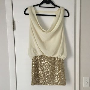 Cream and gold sequin open back dress
